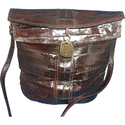 Dark Brown Eelskin Eel Skin Leather Purse Bucket Style Eiffel Tower Fob - Red Tag Sale Item