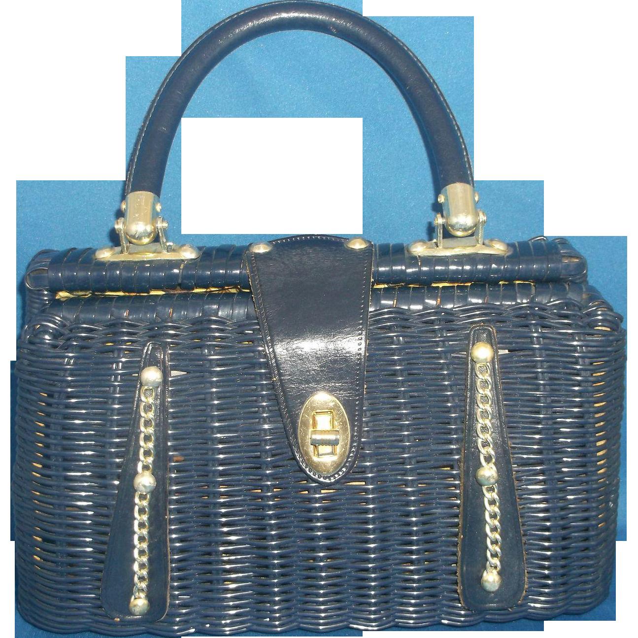 Navy Blue Wicker Basket Purse Made in Hong Kong Cheri