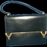 Coblentz Originals Black Leather Handbag Gold Tone Double Clasp Envelope Flap