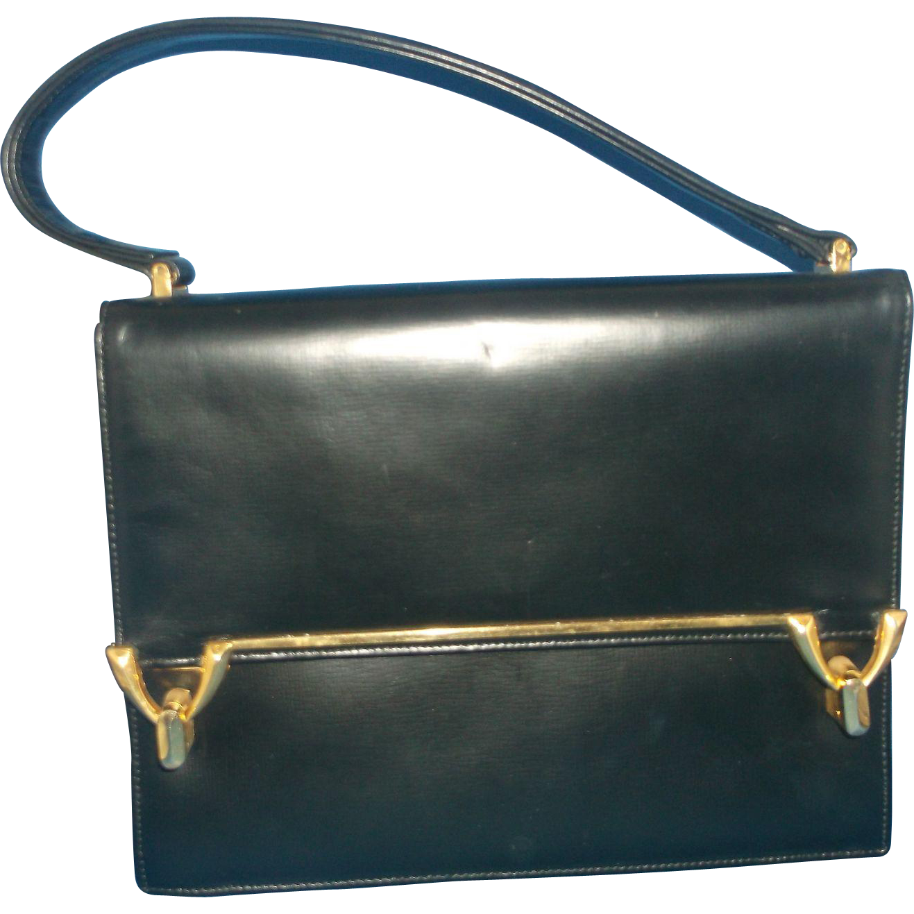 Coblentz Originals Black Leather Handbag Gold Tone Double Clasp Envelope Flap
