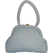 Baby Blue Plastic Beaded Purse Made in Hong Kong