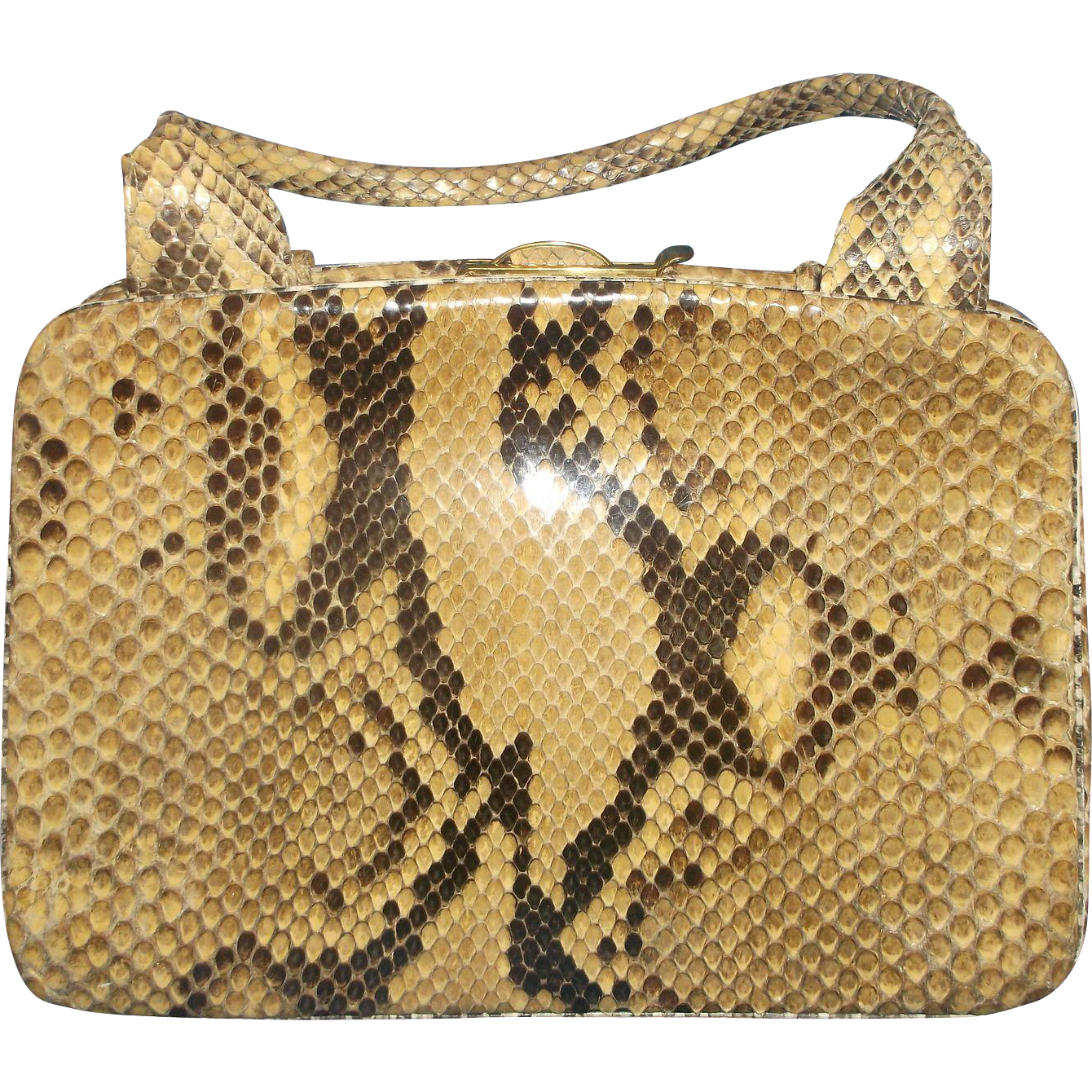 Python Skin Handbag Suede Lining Tan Brown Colors