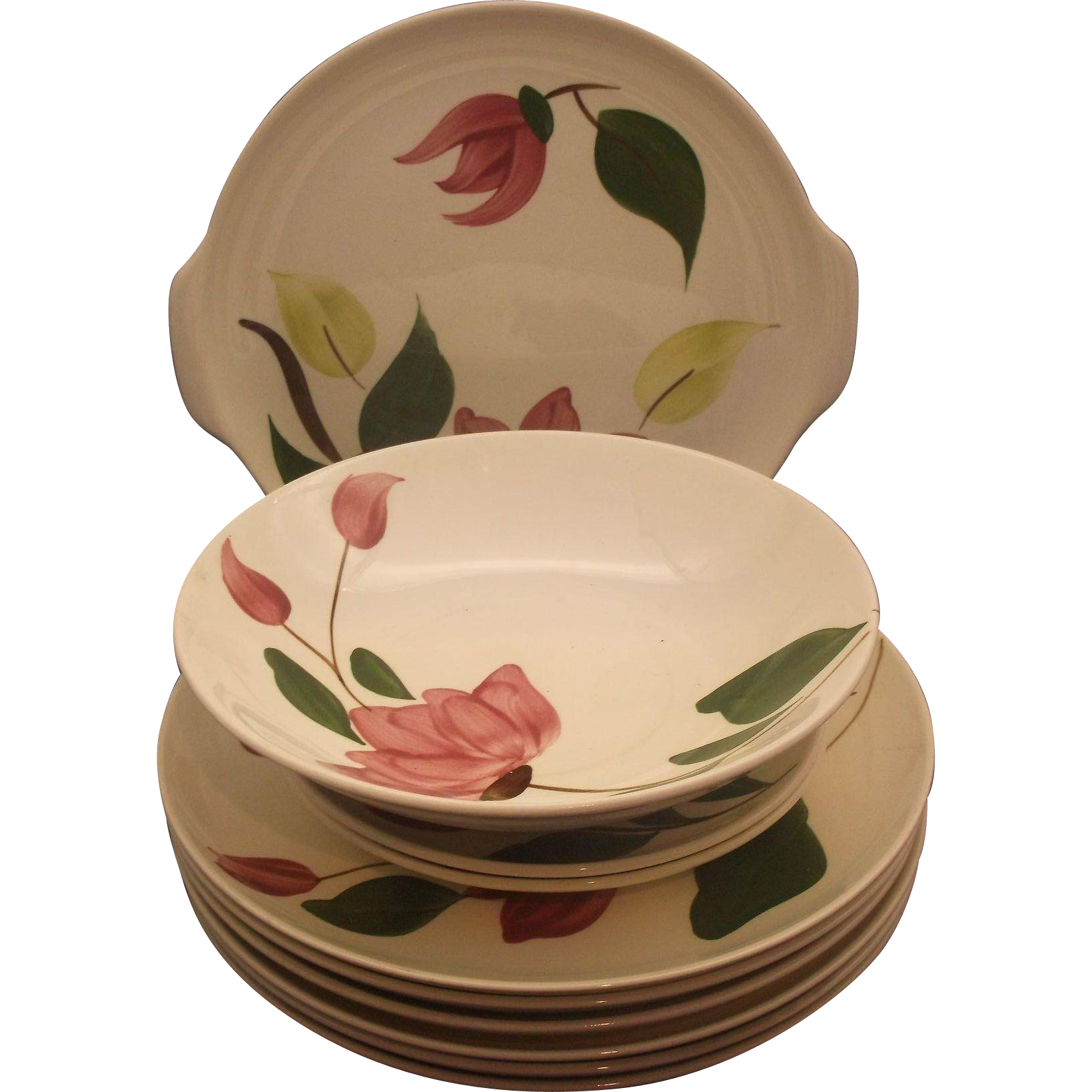 Stetson Rio Pink Flower Meadow Rose Hand Painted Set of 10 Pieces Tab Handle Cake Plate Dinner Plates Serving Bowl