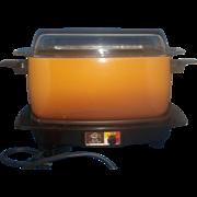 Vintage West Bend Harvest Gold and Brown Model 5275 4 Quart Slow Slo Cooker Hot Plate Griddle
