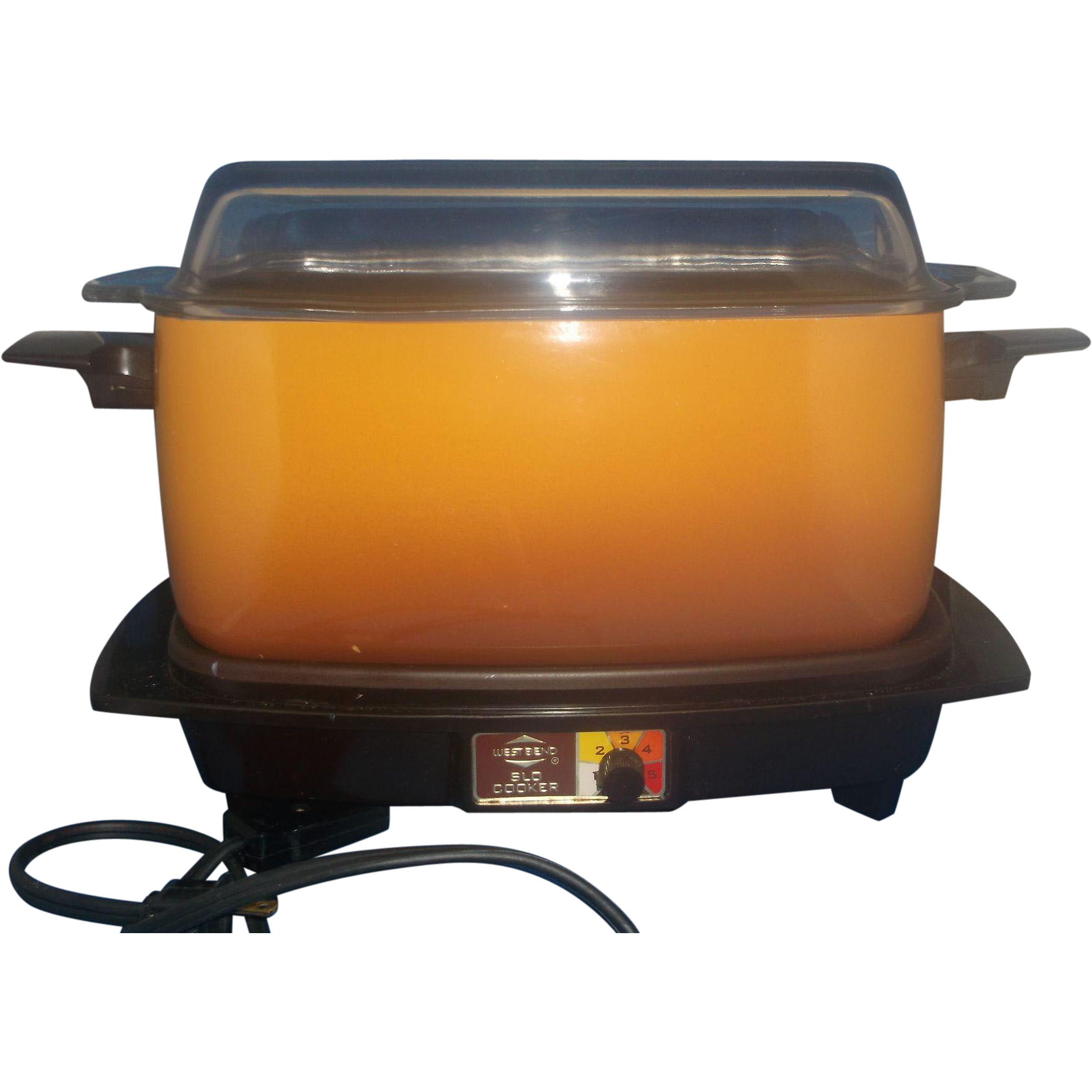 Vintage West Bend Harvest Gold and Brown Model 5275 4 Quart Slow Slo Cooker Hot Plate Griddle