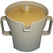 Tupperware Gold and Tan Push-Button Lid Sugar Bowl