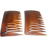 Wil-Hold Plastic Faux Tortoiseshell Hair Combs Pair