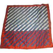 Vera Red Blue White ZigZag Silk Blend Print Scarf