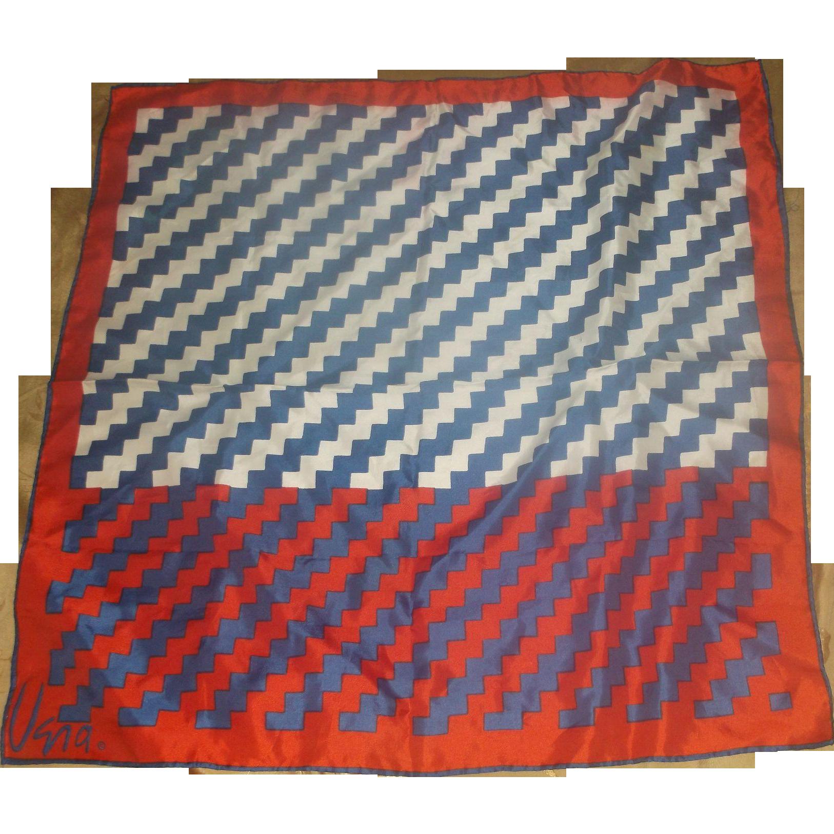 Vera Red Blue White ZigZag Silk Blend Print Scarf