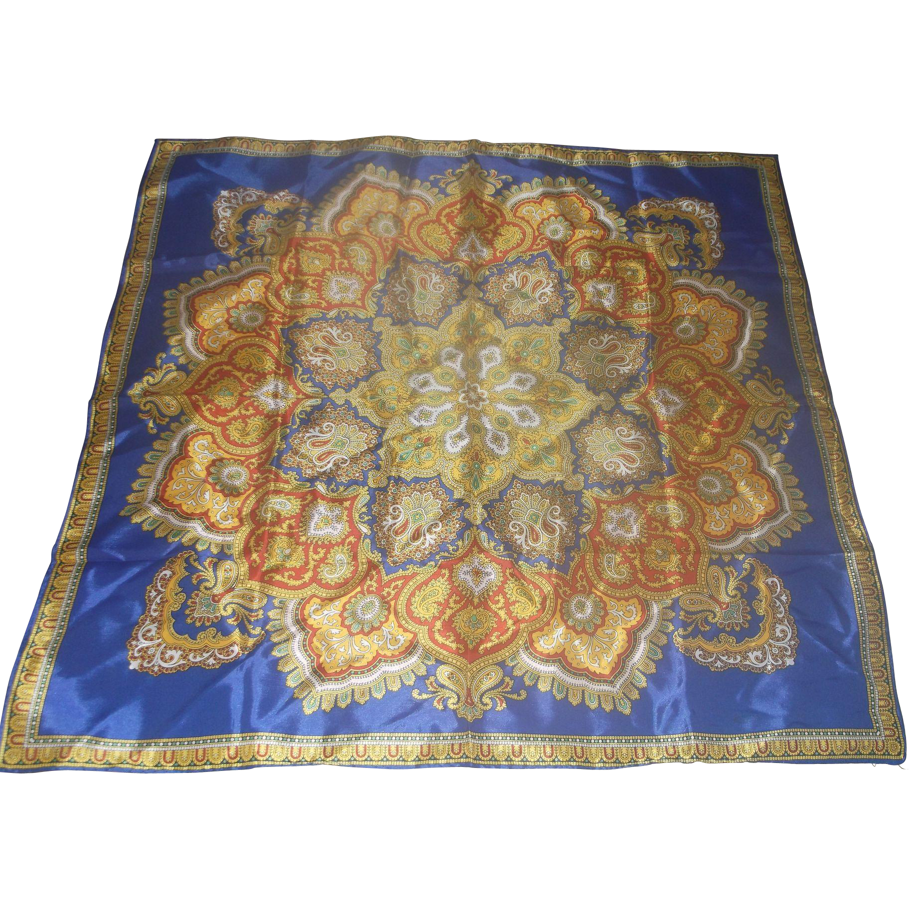Blue Red Yellow Elaborate Floral Sunburst Acetate Satin Scarf Japan