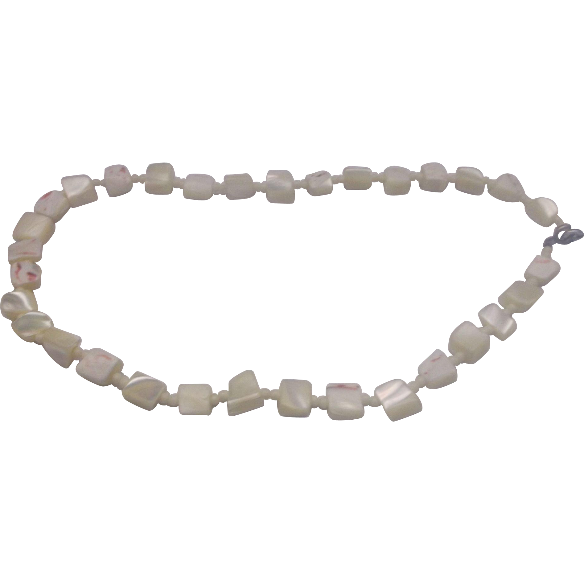 Conch Shell Cream Pink Mottled Nugget Choker Necklace