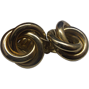 Gold Tone Pipe Knot Earrings Clips