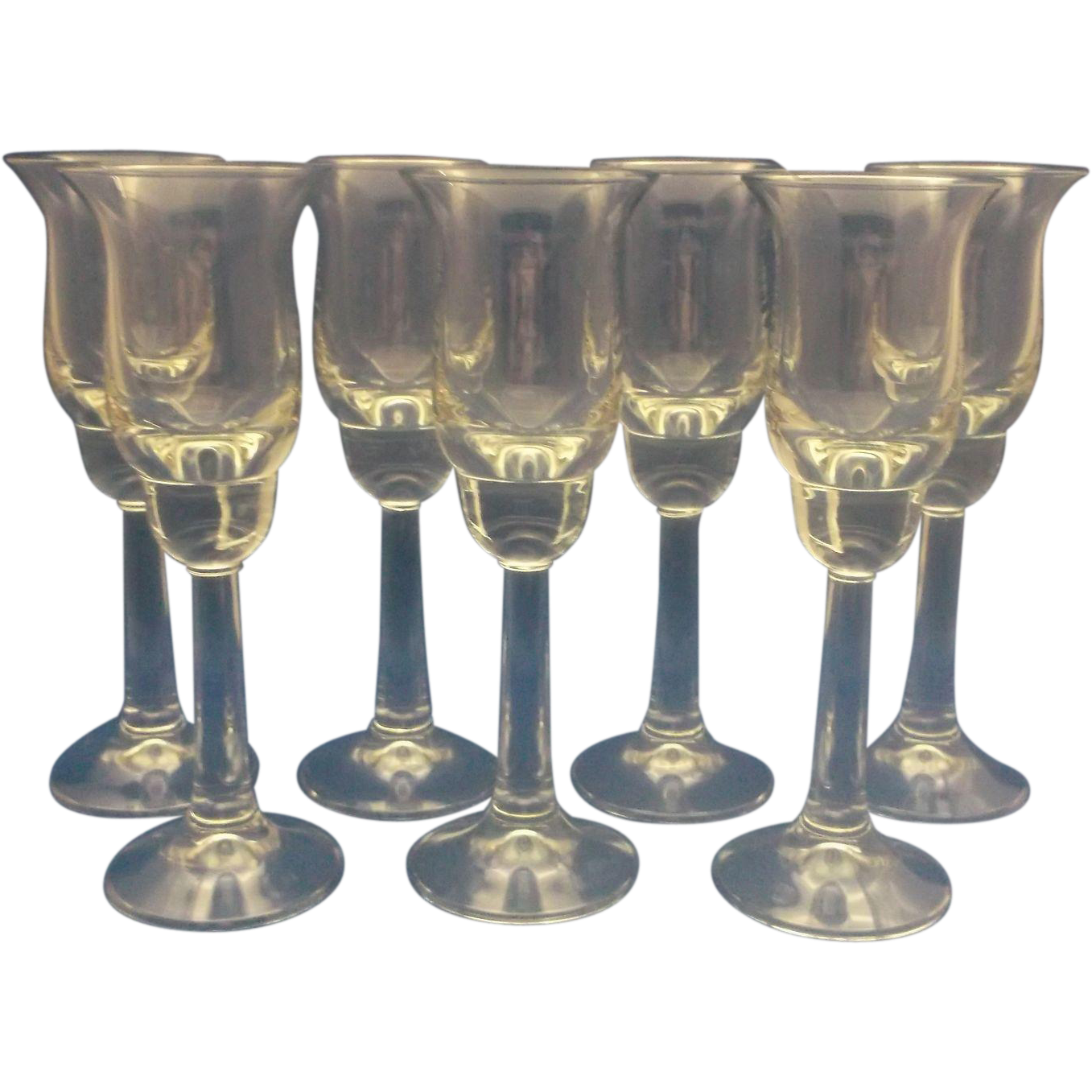 Liqueur Cordial Stems Glasses Set of 7 Clear