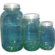 Hocking Green Depression Glass Kitchen Canister Set of Three  Zinc Lids