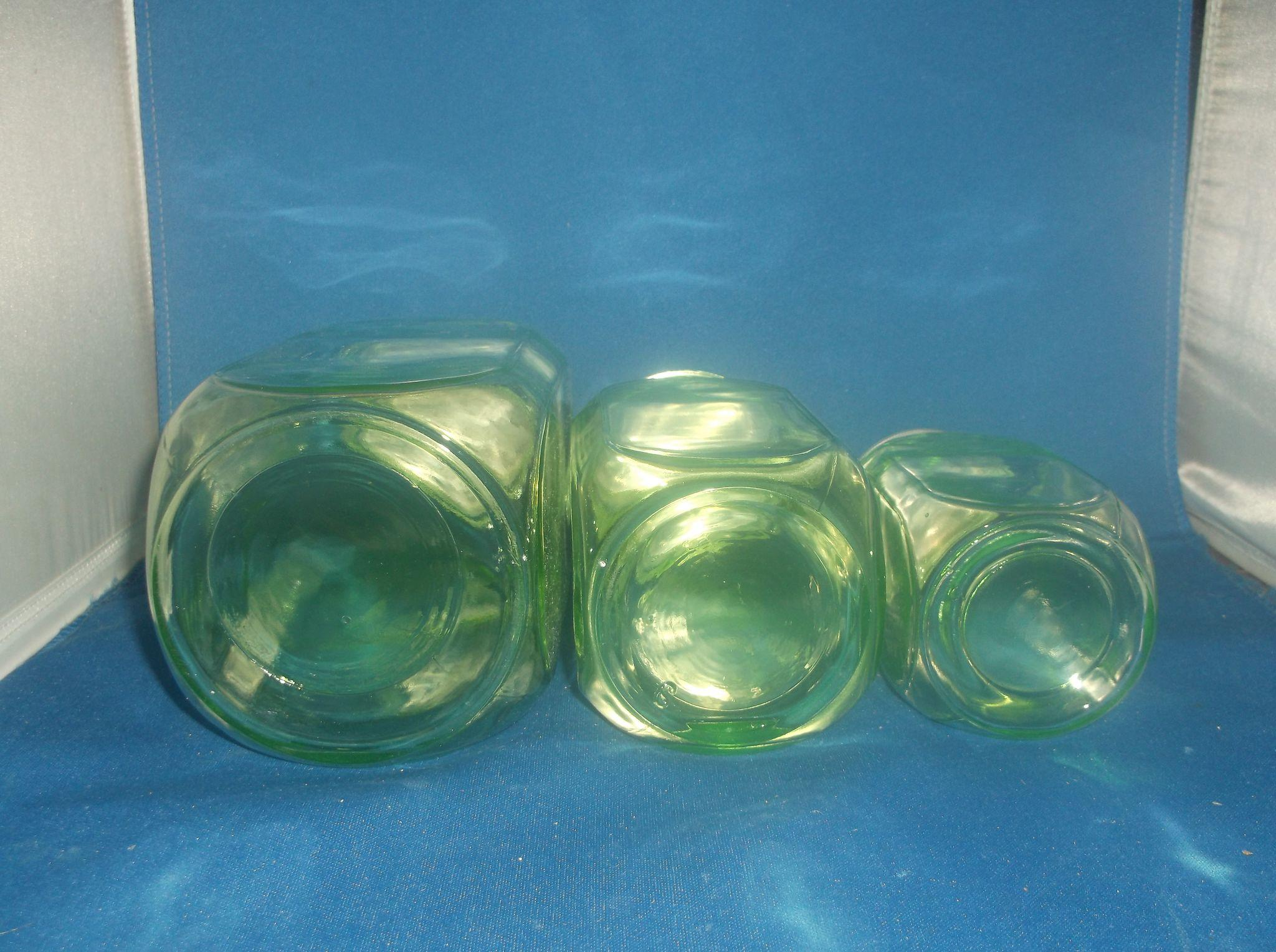 Green Canister Sets Kitchen Hocking Green Depression Glass Kitchen Canister Set Of Three Zinc