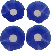Cobalt Blue Glass Bobeches Set of Four Ruffled Candle Wax Drip Catchers