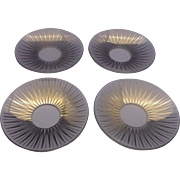 Clear Glass Gold Sunburst Pattern Bobeches Set of 4