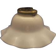 Milk Glass Opal White Ruffled Shade Ceiling Light Fixture