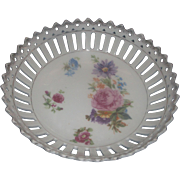 Carl Schumann Arzberg Bavaria Small Porcelain Bowl Reticulated Pierced Rim Floral Transfer