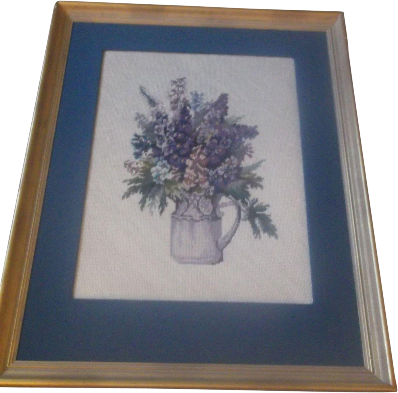 Framed Floral Needlepoint Blue Purple Flowers in Pitcher