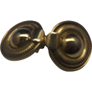 Gold Tone Circle Disc Clip Earrings Serpentine Link Rim
