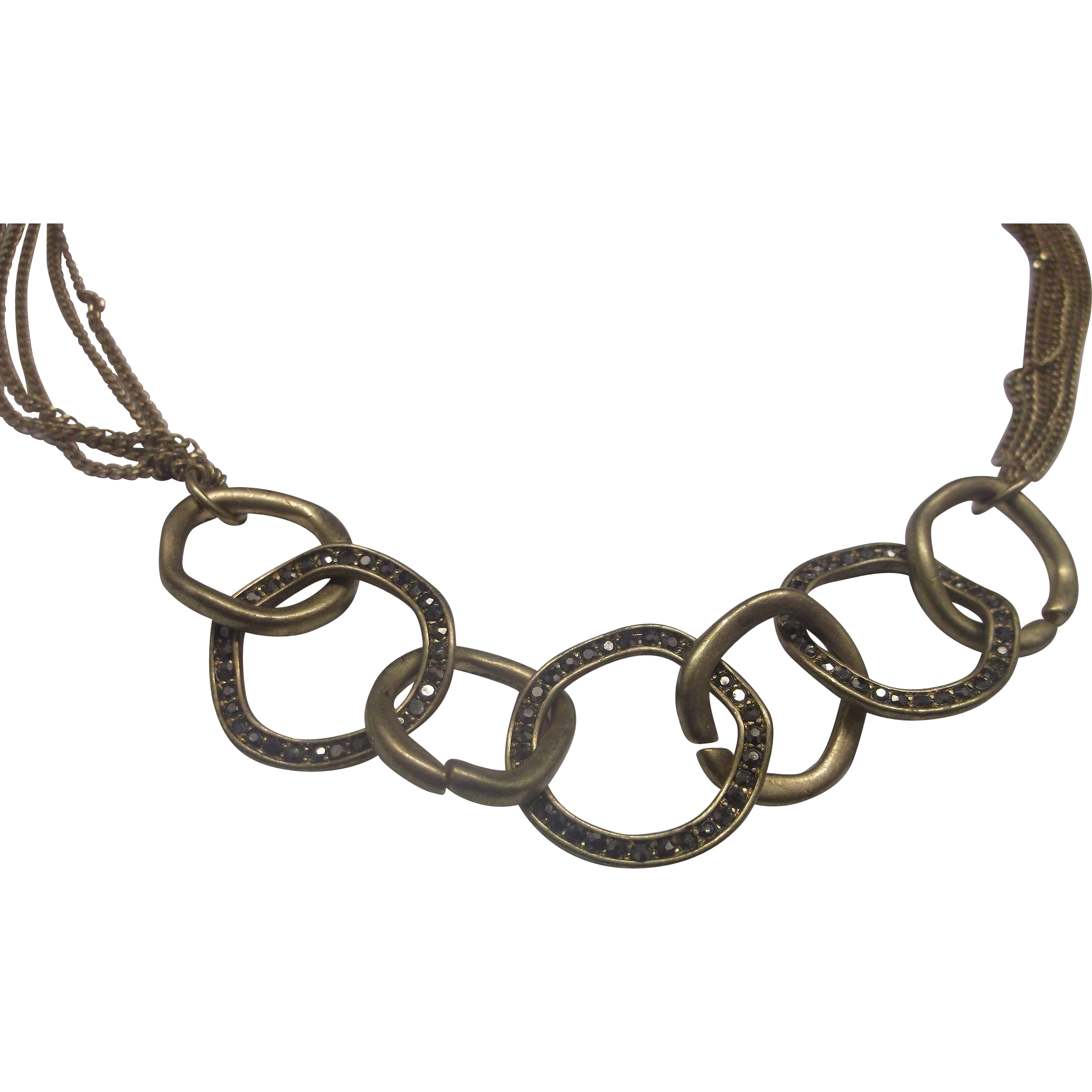 Chocolate Rhinestones Burnished Gold Tone Interlocking Rings Multiple Chains Necklace Signed