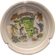 Florida Map Souvenir Ashtray Iridescent Glaze Ceramic Porcelain