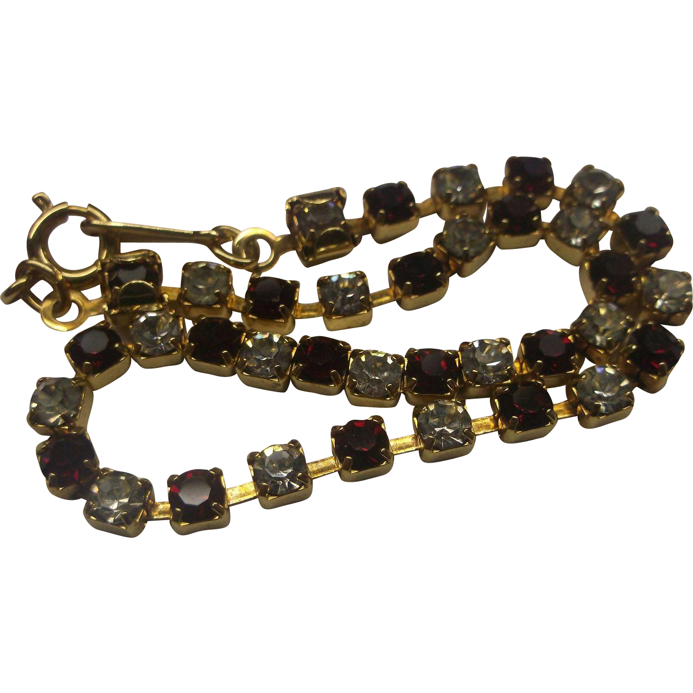 Red Clear Rhinestone Gold Tone Tennis Line Bracelet