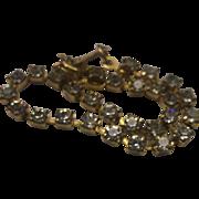 Clear Crystal Rhinestone Gold Tone Tennis Bracelet Small