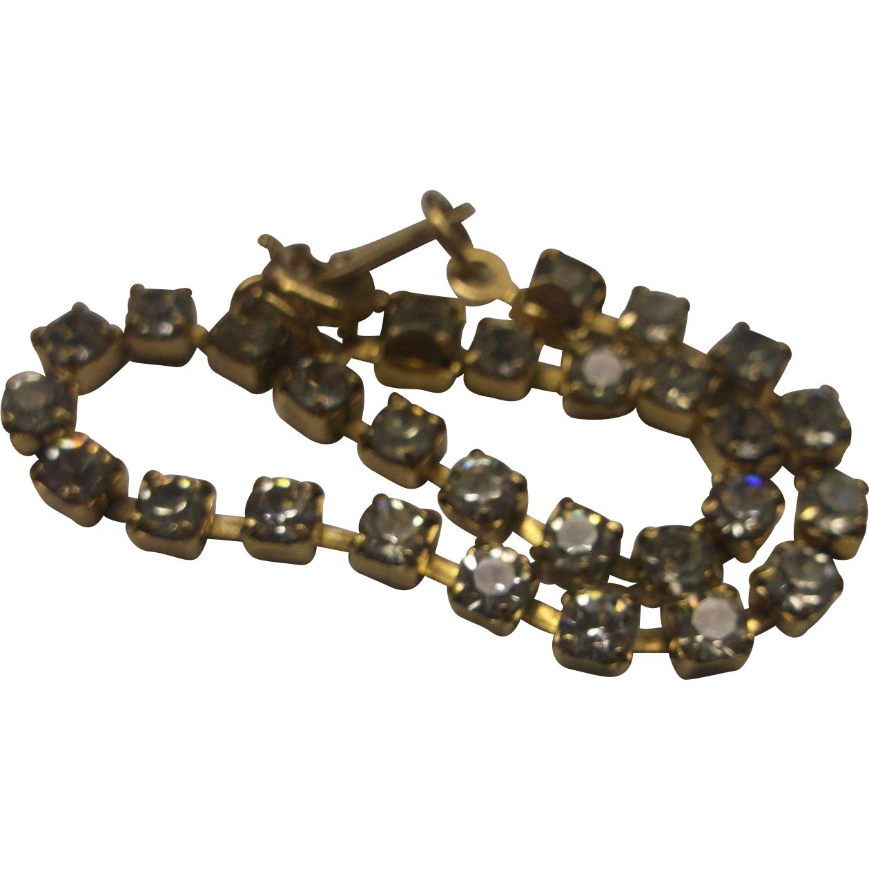 Clear Crystal Rhinestone Gold Tone Tennis Bracelet Small
