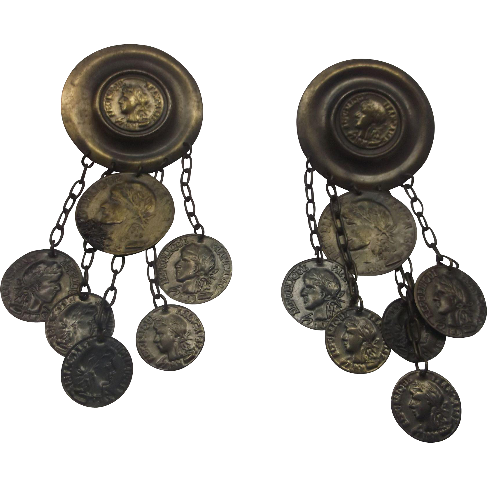 Republic Francais Faux Coin Dangle Earrings