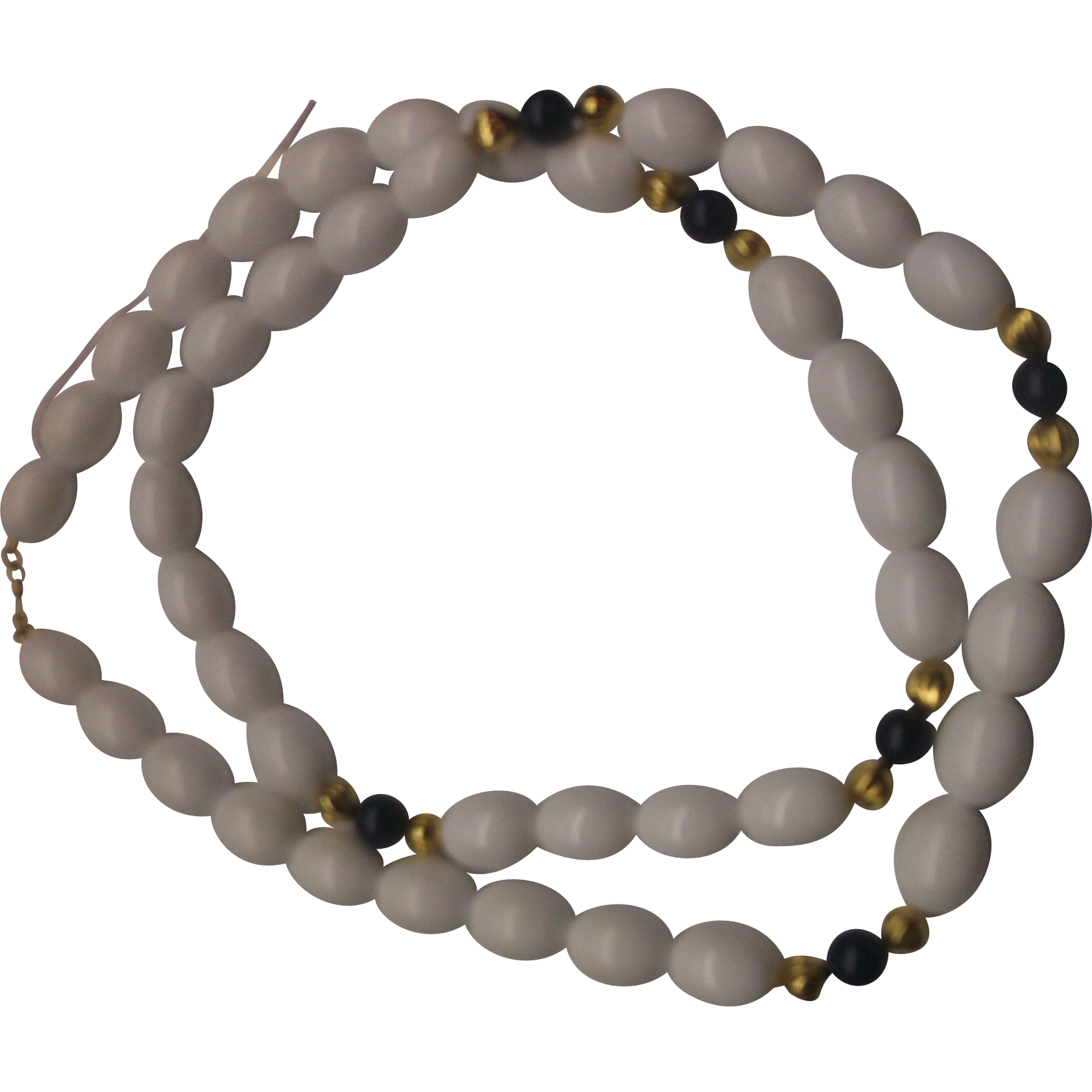 Monet White Oval Bead Necklace Navy Blue Gold Accents