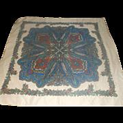 Wool Challis Bright Print Shawl Scarf Blue Green Red Cream 46 IN