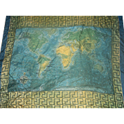 Daphne Silk Scarf Mosaic World Map Design Blue Green Yellow