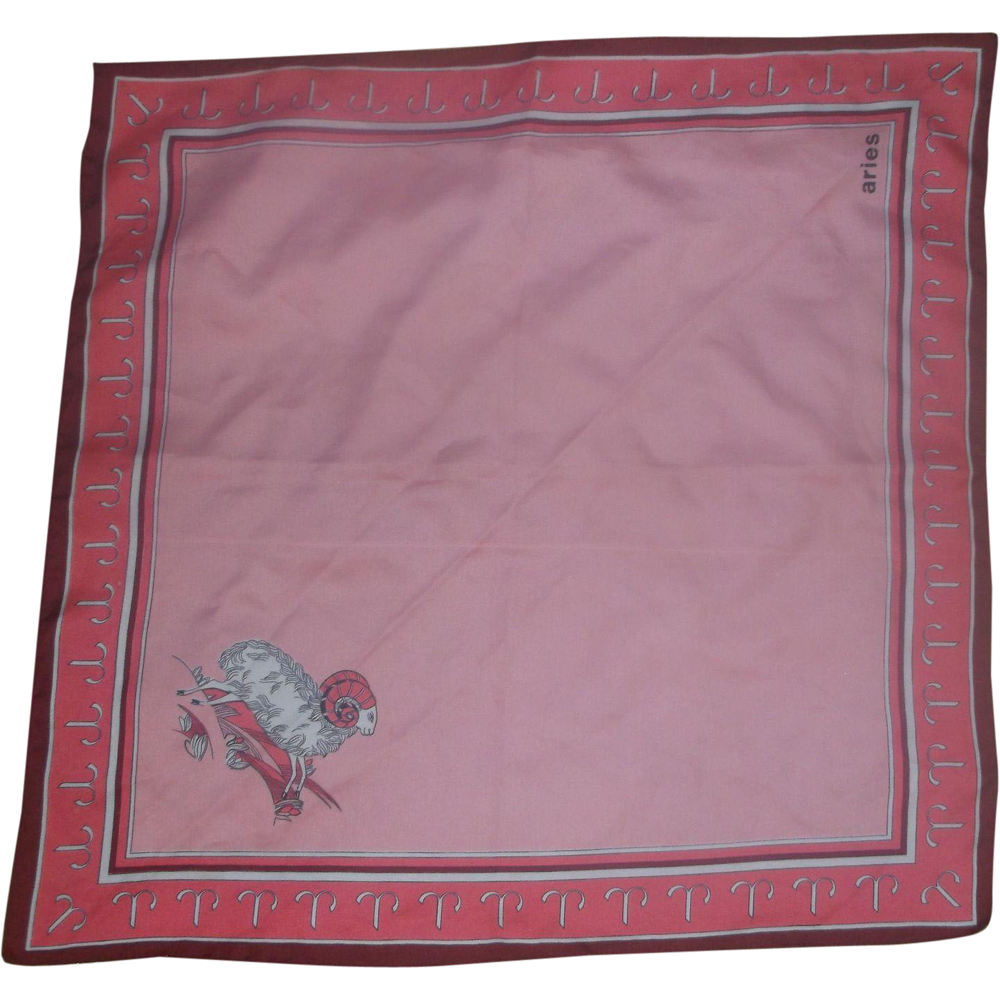 Aries The Ram Zodiac Pink Scarf