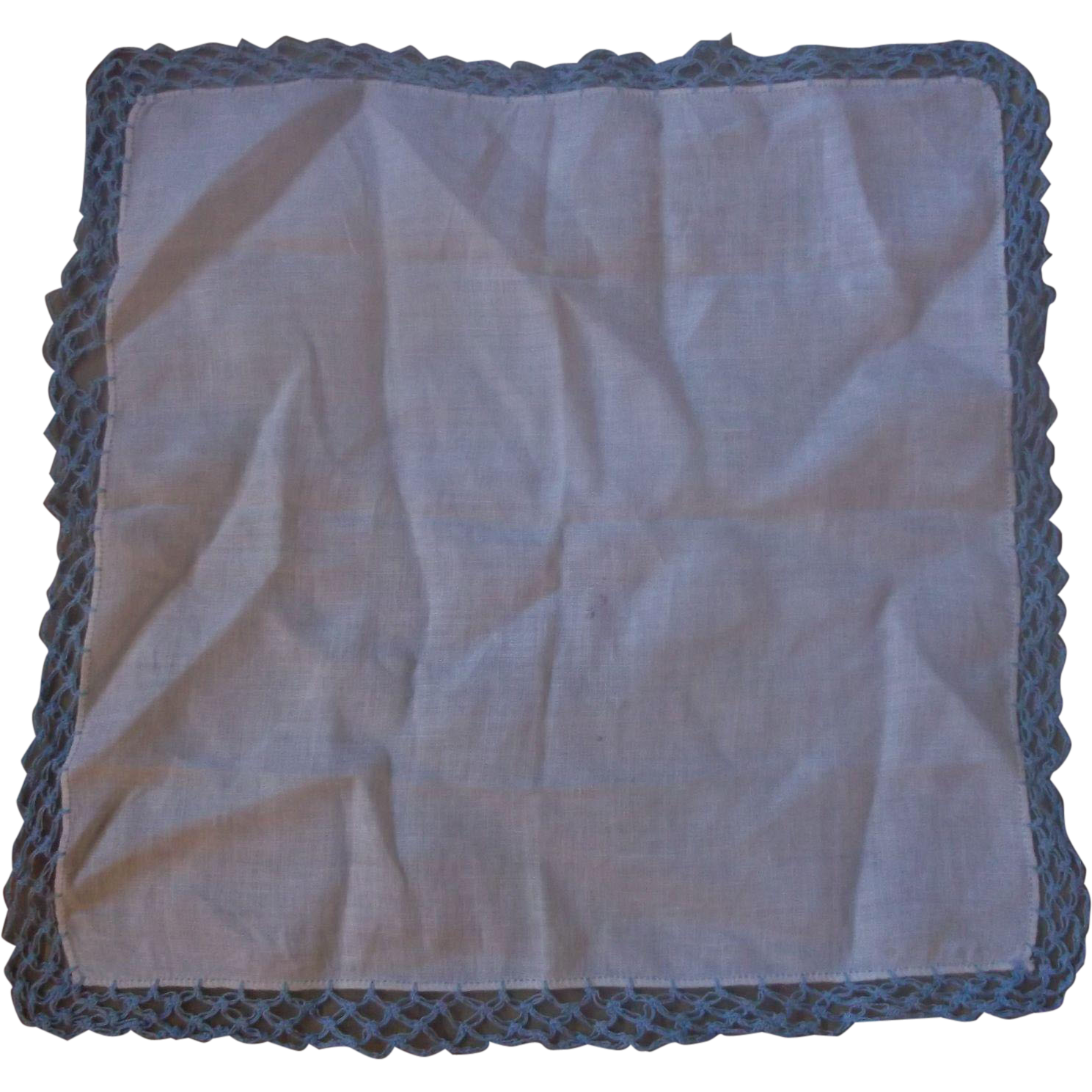White Handkerchief Blue Tatted Lace Edge