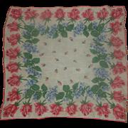 Pink Roses Cotton Lawn Handkerchief
