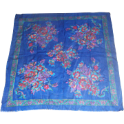 Berkshire Royal Blue Purple Bright Floral Challis Scarf Acrylic