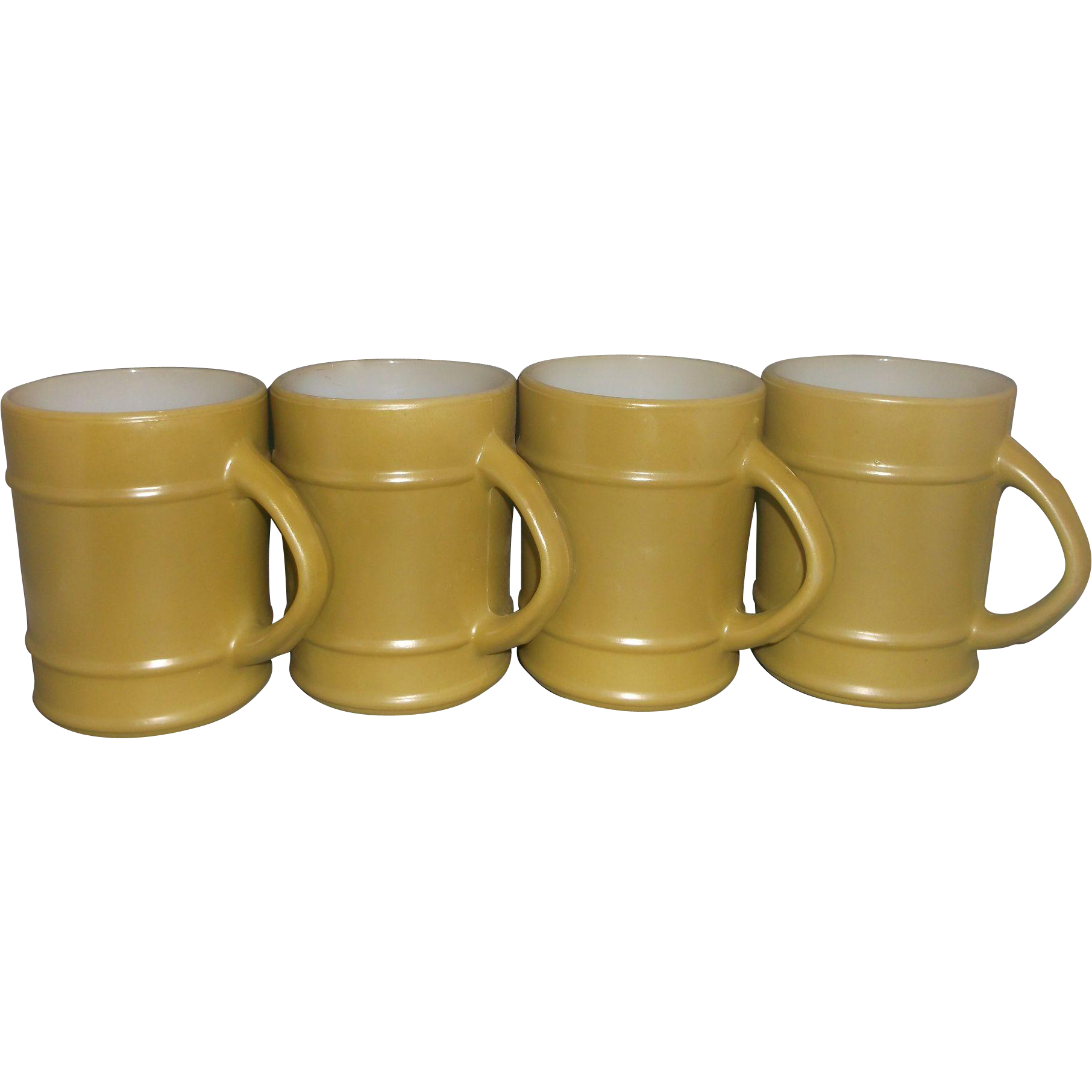 Fire-King Olive Green Ranger Mug Set of 4