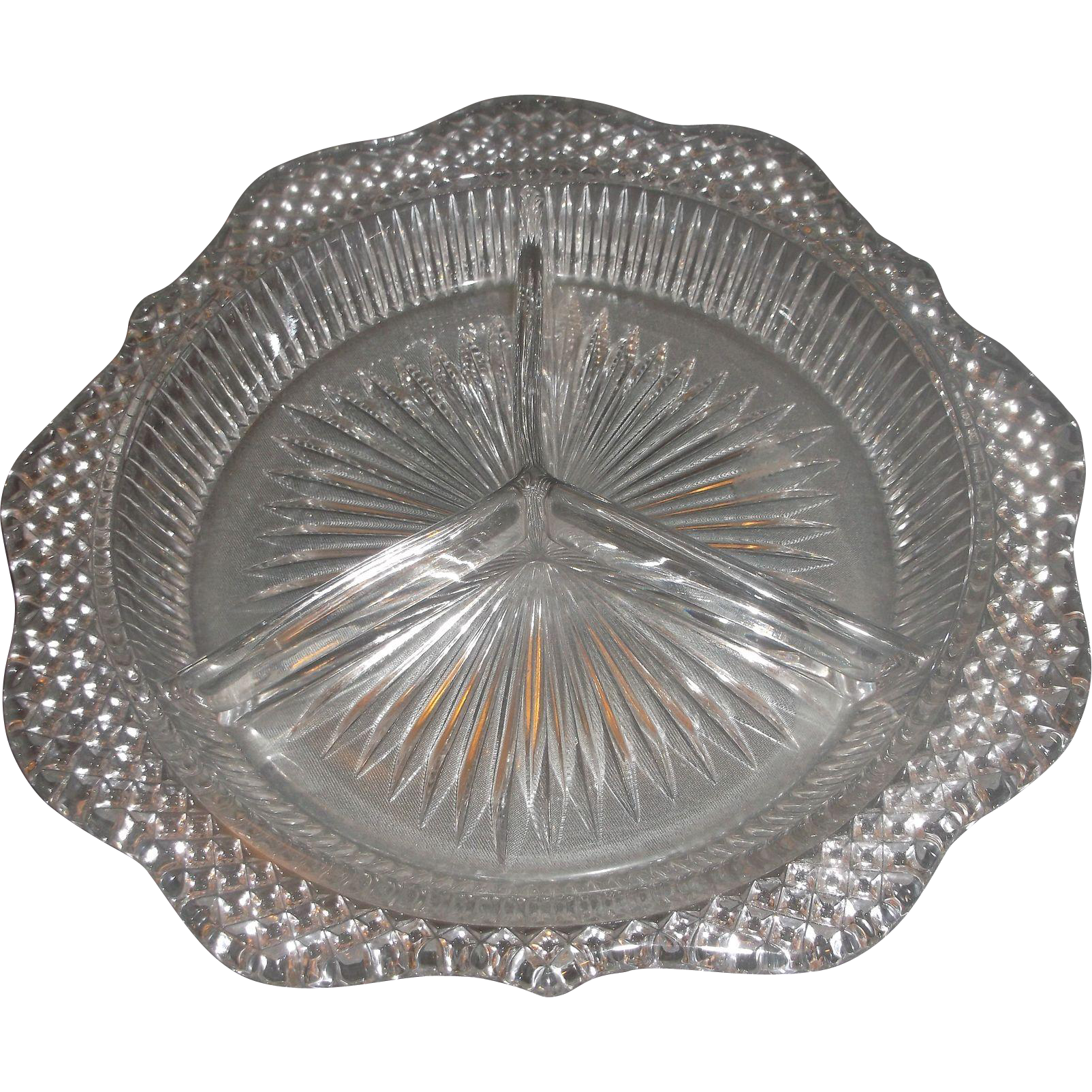 Westmoreland English Hobnail Crystal Three Part Relish Scalloped Rim