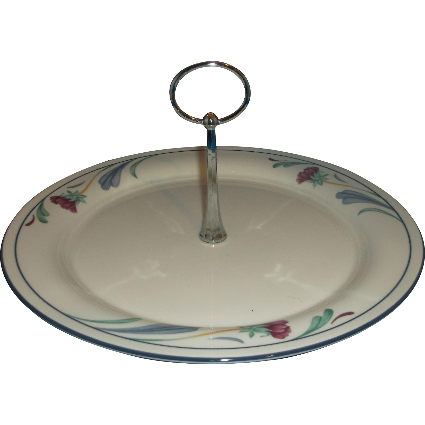 Lenox Poppies On Blue Chinastone Tidbit Tray Round Center Handle
