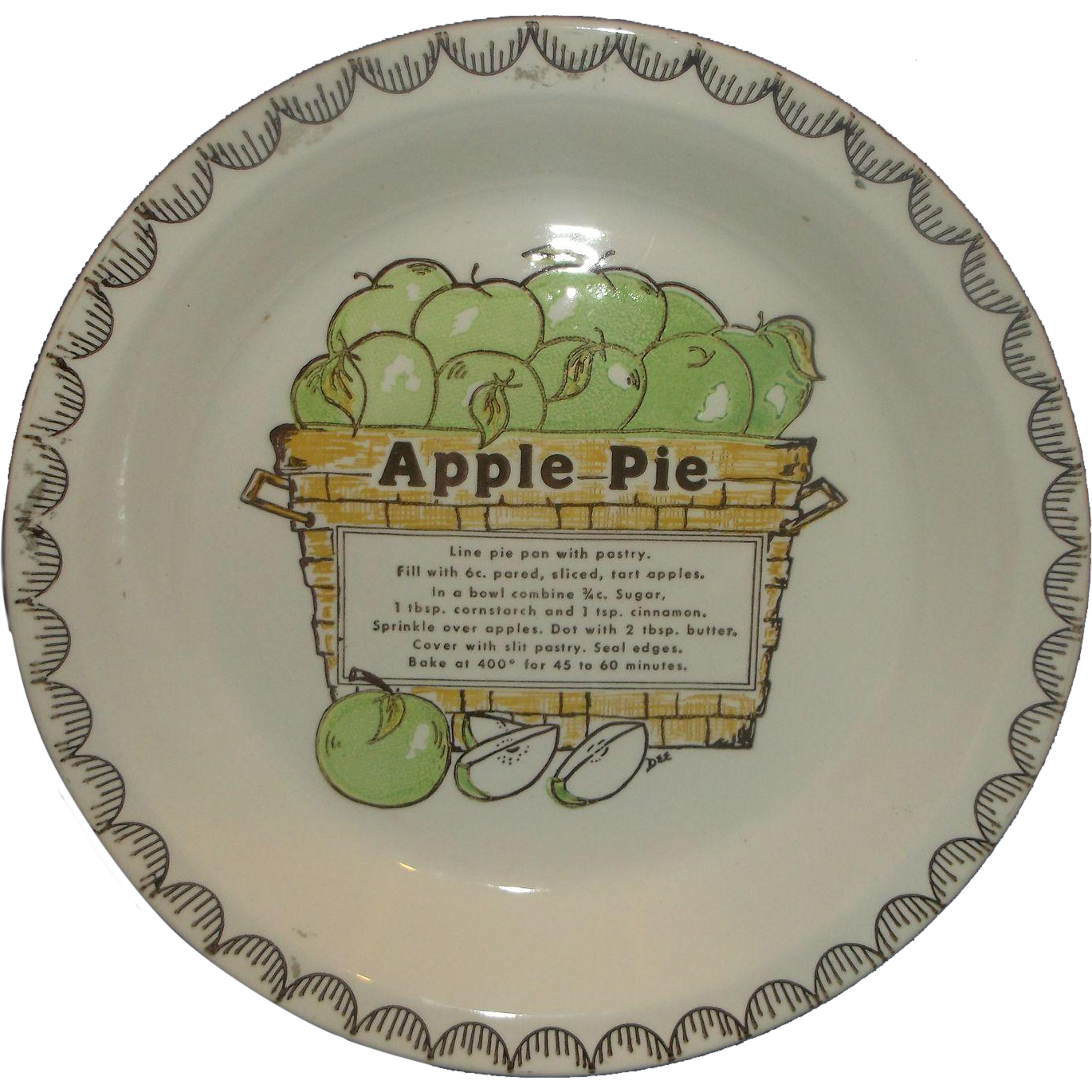 Green Apple Recipe Print Pie Plate Pottery RCA