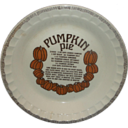Pumpkin Pie Recipe Pie Plate Pan Royal China Country Harvest