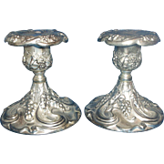 Godinger Grape Vineyard Console Candlesticks Candle Holders Pair Silverplate