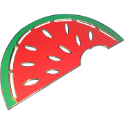Wm Rogers Silverplate Enamel Watermelon Trivet