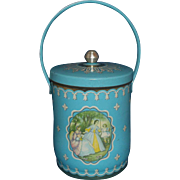 Turquoise Aqua English Biscuit Tin Barrel Handle Ladies Portrait Scene Confectionery House London