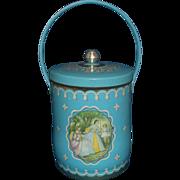 Turquoise Aqua English Biscuit Tin Barrel Handle Ladies Portrait Scene Confectionery House London