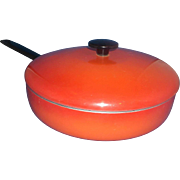Red Orange Enamel Aluminum Skillet With Lid Enterprise Quality Cookware Masillion Ohio 9 IN