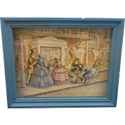 Paper Tole Cut Out Diorama 1860s Ladies Shopping Shadow Box Art - Red Tag Sale Item