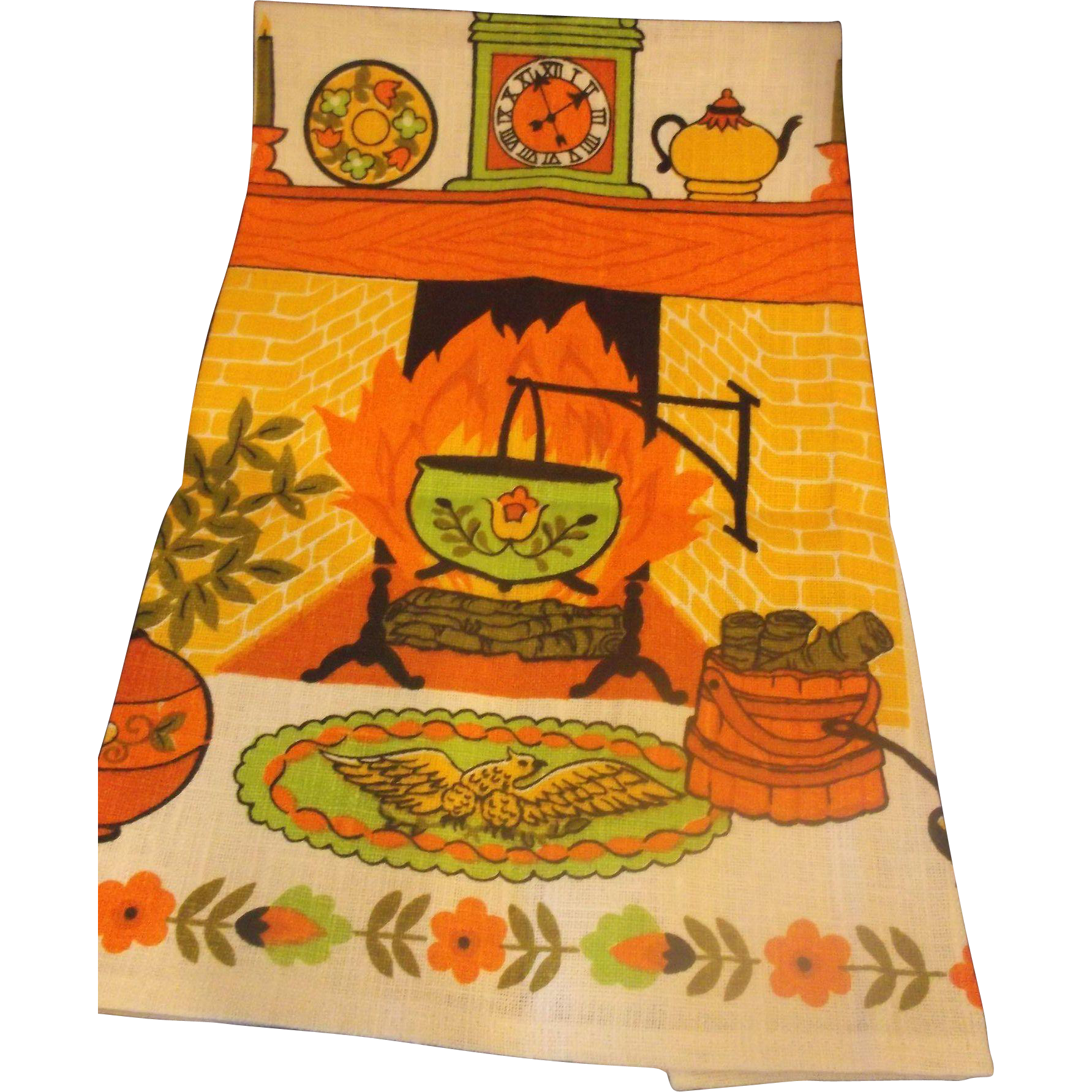 Linen Tea Towel Old Time Kitchen 1960s-70s Colors Orange Green Yellow Unused